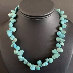 Jewelry - Sterling Silver Turquoise Bead Necklace. 17 inch